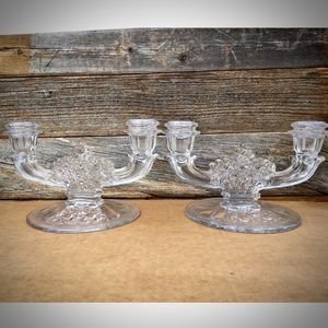 L.G.Wright Daisy Button Glass Double Candlestick